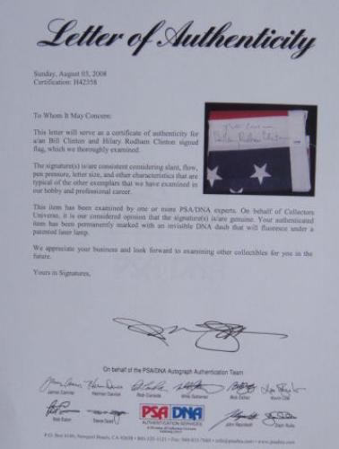 Bill & Hillary Clinton Signed United States Flag PSA