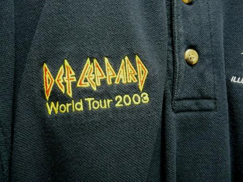Def Leppard Band REAL Crew 2003 World Tour Issued Large Polo Shirt SS2