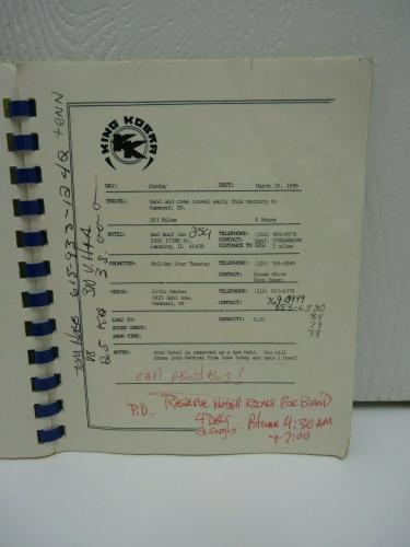 Vintage KING KOBRA Tour Itinerary March April 1986 Carmine Appici