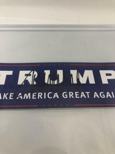 Donald Trump Signed Bumper Sticker Bas Beckett Encapsulated