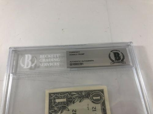 Donald Trump Signed One Dollar Bill Bas Beckett Encapsulated $1 Bill President