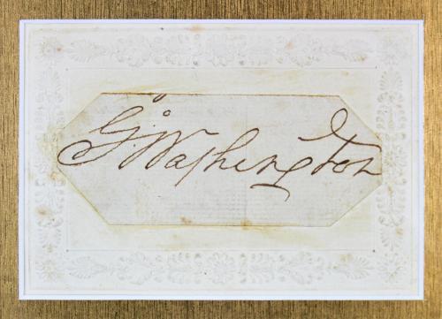 George Washington Signed 1.4x3.5 Framed Cut Signature BAS #A78926