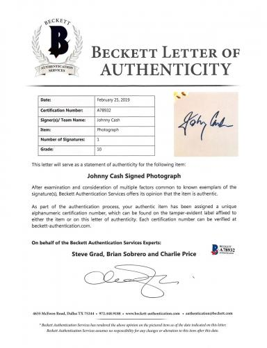 Johnny Cash Signed 8x10 Photo Auto Graded Gem Mint 10! BAS #A78932