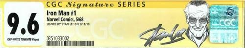 Iron Man #1 Cgc 9.6 Oww Ss Stan Lee  Nicer Than Some 9.8's Cgc #0351033002