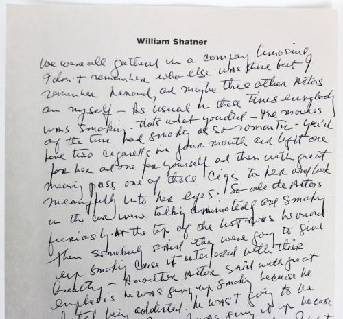 William Shatner Signed 7.25x10.5 1 Page Essay on Personal Letterhead BAS #A71925
