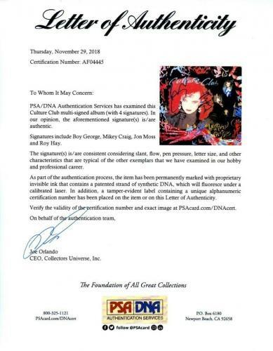 Culture Club Autographed Signed Album LP Record Certified Authentic PSA/DNA COA