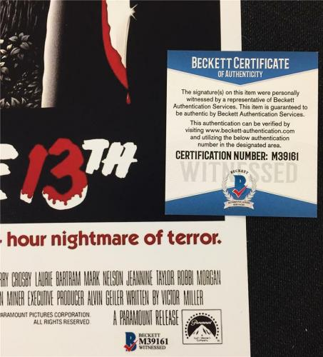 "ARI LEHMAN Friday the 13th ""JASON 1"" signed 11x17 movie poster photo ~ BAS COA"