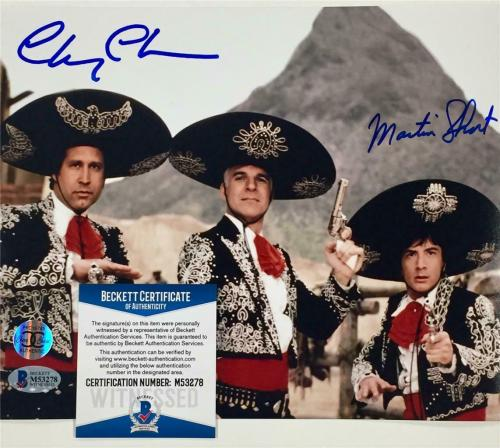 CHEVY CHASE & MARTIN SHORT signed 3 THREE AMIGOS 8x10 photo ~ Beckett BAS COA