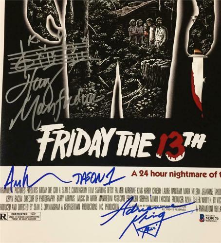 1980 Friday the 13th JASON cast signed 11x17 movie poster photo ~Beckett BAS COA