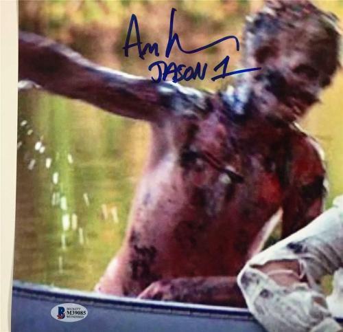 ADRIENNE KING + ARI LEHMAN Friday the 13th JASON 1 signed 11x17 photo ~ BAS COA