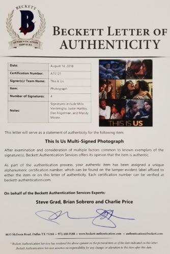 THIS IS US Cast (4) Signed 11X14 Photo Ventimiglia Hartley (B) ~ Beckett BAS COA