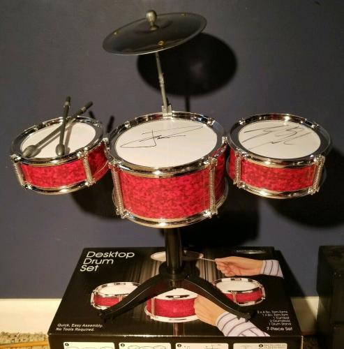 21 Twenty One Pilots Josh Dun Tyler Joseph Signed Desktop Drum Set PSA/DNA COA