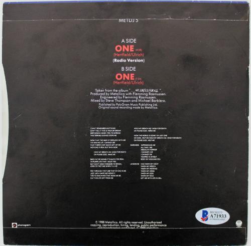Metallica (4) Hetfield, Ulrich, +2 Signed One 45 RPM Album Cover W/ Vinyl BAS