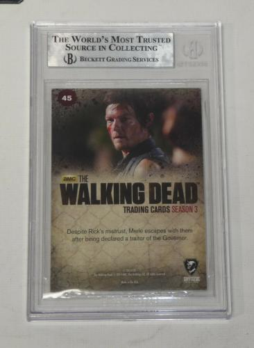 Andrew Lincoln Norman Reedus Auto'd 2014 The Walking Dead Card #45 Bas Coa Daryl
