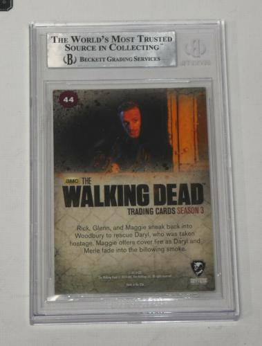 Andrew Lincoln Lauren Cohan Auto'd 2014 The Walking Dead Card #44 Bas Coa Daryl