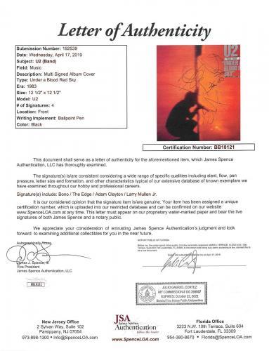 U2 (4) Bono, Edge, Mullen & Clayton Signed Under A Blood Red Sky Album Cover JSA