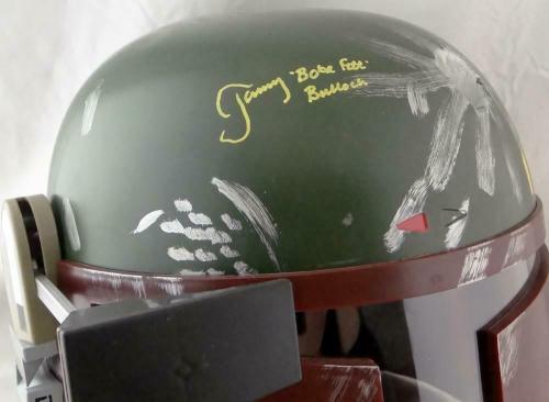 Jeremy Bulloch Signed Star Wars Boba Fett Helmet w/Boba Fett- JSA W Auth *Yellow
