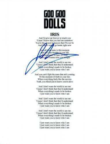 John Rzeznik Signed Autographed Goo Goo Dolls IRIS Song Lyric Sheet COA