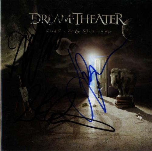 Dream Theater Signed Black Clouds Silver Linings CD Cover Guitar RACC TS UACC RD