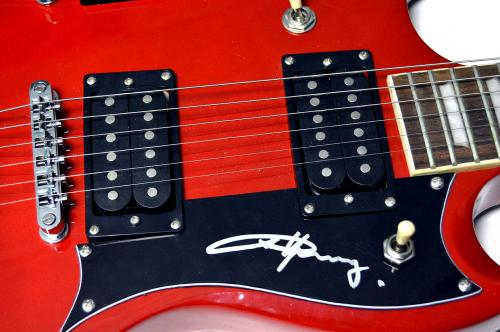 AC/DC ACDC Angus Young Autographed Double Neck 18 String Guitar