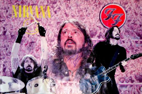 Dave Grohl Nirvana Foo Fighters Signed 24x36 Canvas Poster Photo & Video Proof