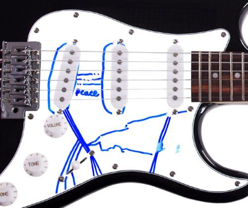 Bright Black Autographed Signed Guitar & Custom Display Case UACC RD AFTAL