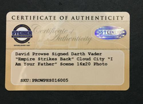David Prowse signed 16x20 Star Wars photo ins Darth Vader framed Auto Steiner