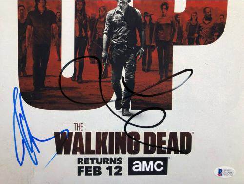 Jeffrey Dean Morgan & Lauren Cohen Signed 'Walking Dead' 12x18 Photo BAS E49990