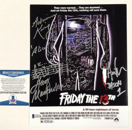 1980 Friday the 13th JASON cast signed 8x10 movie poster photo ~ Beckett BAS COA