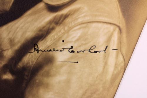 Amelia Earhart Signed 8x10 Sepia Studio Portrait Photo JSA #Z61057