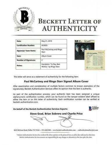 Paul McCartney Ringo Starr Signed With The Beatles Album Beckett BAS