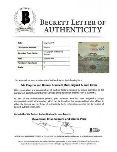 Eric Clapton and Bonnie Bramlett Signed Autographed Album Beckett BAS Mint 9