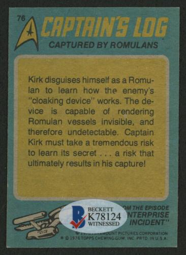William Shatner Signed 1976 Star Trek #76 Captain Kirk Captured By Romulans Card