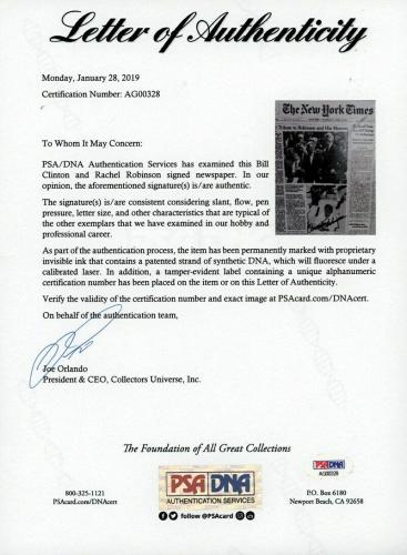 Bill Clinton & Rachel Robinson Signed 1997 New York Times Jackie Robinson PSA