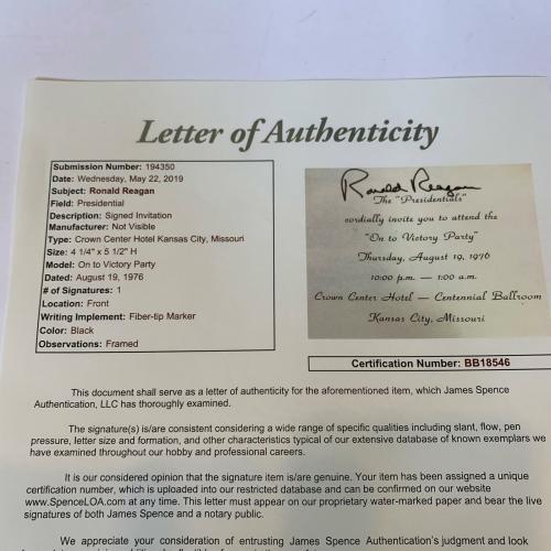 "President Ronald Reagan Signed 1976 ""On To Victory"" Invitation With JSA COA RARE"