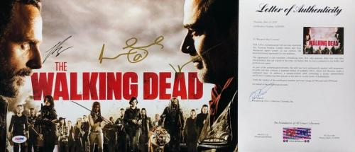 Norman Reedus Lennie James Marquand Signed 'The Walking Dead' 11x17 Photo PSA