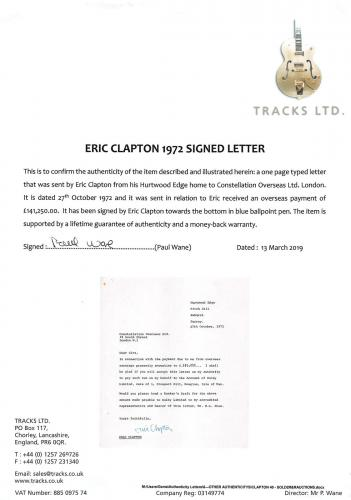 Eric Clapton Signed 8x9 Letter Dated October 27, 1972 BAS #A57044