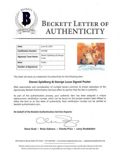 Steven Spielberg & George Lucas Indiana Jones Signed 11x14 Photo BAS #A57120