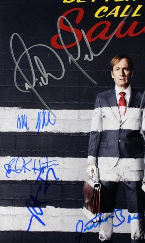 Better Call Saul (8) Odenkirk, Banks, Seehorn +5 Signed 11x17 Photo BAS A57096
