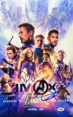 Chris Hemsworth Jeremy Renner Josh Brolin Rudd Signed 'Endgame' 11x17 Photo PSA