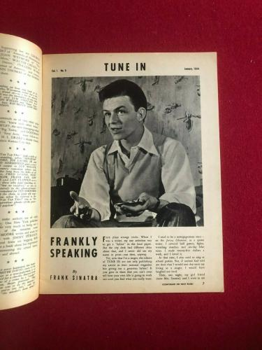 "1944, Frank Sinatra, ""TUNE IN"" Magazine (No Label) Scarce / Vintage"