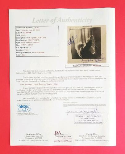 "Bono Edge Adam X3 Signed U2 ""wide Awake In America"" Album Certified With Jsa Coa"