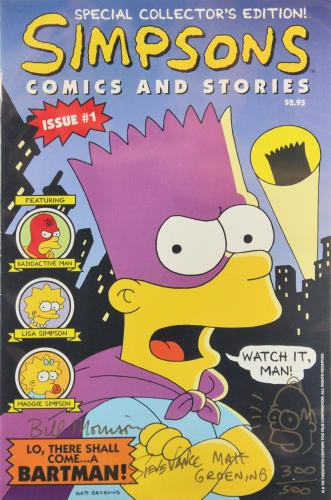 The Simpsons (3) Signed Comics And Stories 1 w/ Sketch LE #300/500 BAS Slabbed