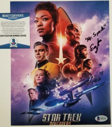 "ETHAN PECK Signed 8x10 Photo Star Trek ""Mr. Spock"" Inscription ~ Beckett BAS COA"