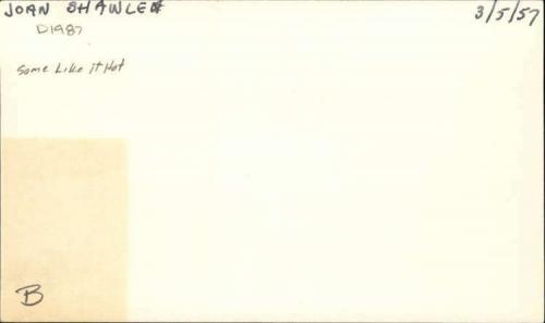 "Joan Shawlee D.1987 Actress Some like it Hot signed 3""x5"" index Card"