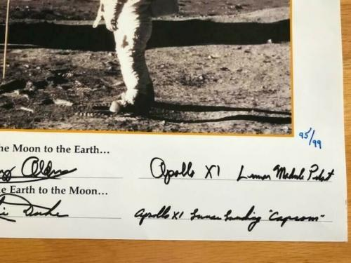 BUZZ ALDRIN+CHARLIE DUKE HAND SIGNED 16x20 FIRST WORDS EVER SPOKEN PHOTO     PSA