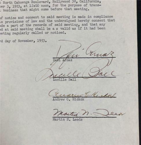 Lucy Lucille Ball & Desi Arnaz signed 1953 Desilu Contract ~ Beckett BAS COA
