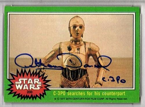 "1977 TOPPS ANTHONY DANIELS Signed ""C3-PO"" Card SLABBED PSA/DNA #83286706"