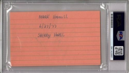 "MARK HAMILL 1977 ""Star Wars"" Signed Autographed 3x5 Index Card PSA/DNA SLABBED"