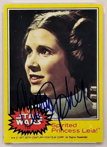 "1977 Topps STAR WARS CARRIE FISHER Signed ""Princess Leia"" Card PSA/DNA SLABBED"